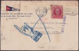1917-H-277 CUBA REPUBLICA. 1917. 2c PATRIOTAS. 1930. FORWARDED COVER. RARE POSTMARK IN REVERSE. - Lettres & Documents