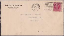 "1917-H-291 CUBA REPUBLICA. 1917. 2c 1929. SOBRE MARCA ""CUBA PARAISO DE LOS TURISTAS.."" TURISM FIRT YEAR OF USE. - Cuba"