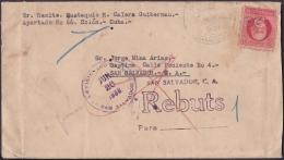 1917-H-294 CUBA REPUBLICA. 1917. 2c PATRIOTAS. 1939. SAN SALVADOR FORWARDED COVER. RARE POSTMARK IN REVERSE. - Cuba