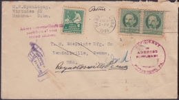 1917-H-295 CUBA REPUBLICA. 1917. 1c 1939. FORWARDED COVER. RARE POSTMARK IN REVERSE. - Lettres & Documents