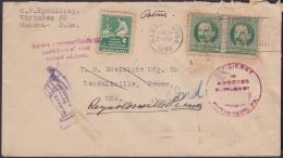 1917-H-295 CUBA REPUBLICA. 1917. 1c 1939. FORWARDED COVER. RARE POSTMARK IN REVERSE. - Cuba