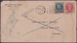 "1917-H-301 CUBA REPUBLICA. 1917. 1-2c PATRIOTAS. 1923. FORWARDED COVER. RARE ""DIVISION DE CARTERIA. DEVUELTO AL HOTEL"". - Lettres & Documents"