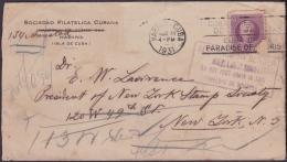 1917-H-303 CUBA REPUBLICA. 1917. 3c PATRIOTAS. 1931. SOBRE SOCIEDAD FILATELICA CUBANA. - Cuba