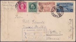1928-H-53 CUBA REPUBLICA. 1928. 8c SEXTA CONFERENCIA. SOBRE CERTIFICADO A ALEMANIA. GERMANY. RAILROAD STATION. - Cuba