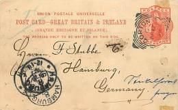 INTERO POSTALE DITTA 'F. LIVINGSTON & CO. - GORTON. DA MANCHESTER A HAMBURG 1898 - 1840-1901 (Regina Victoria)