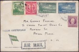 1930-H-26 CUBA REPUBLICA. 1930. AVION. MARITIME HOLLAND- AMERICA LINE. SHIP NEW AMSTERDAM. TO US. - Lettres & Documents