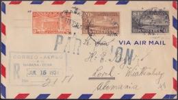 1930-H-27 CUBA REPUBLICA. 1930. 1$ REGISTERED COVER TO GERMANY. 1931. VIA NEW YORK. - Cuba