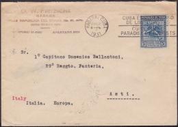 1930-H-29 CUBA REPUBLICA. 1930. 5c. JUEGOS CENTROAMERICANOS. CENTROAMERICAN GAMES TO ITALY ITALIA. - Lettres & Documents