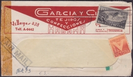 1931-H-64 CUBA REPUBLICA. 1931. AVION. ILLUSTRATED COVER 1944.TEJIDOS Y CONFECCIONES WITH LETTER. - Lettres & Documents