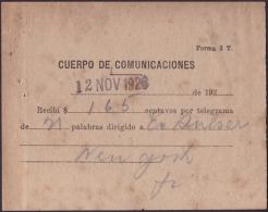 1926-H-5 CUBA REPUBLICA. 1926. TELEGRAFOS. TELEGRAPH. RECIBO DE PAGO DE TELEGRAMA A NEW YORK. - Cuba