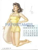 37652 ARGENTINA ART SENSUAL WOMAN & CALENDARY MARCH MARZO 1947 PIN UP NO POSTAL POSTCARD - Pin-Ups