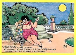 """CPSM Illustration - Mat - HUMOUR """" Couple Amoureux Sur Un Banc """" ( Prix Net ) - Couples"""