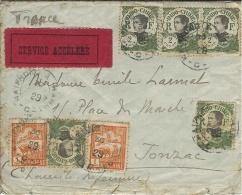 1929- Enveloppe  Affr. 12 Cents + SERVICE ACCELERE -annulé Ambulant HAIPHONG A HANOI Pour Jonzac ( Char. Mar. ) - Indochine (1889-1945)