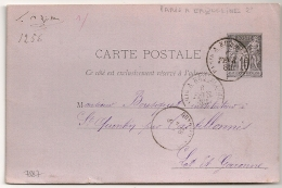 AMBULANT PARIS A ERQUELINES 2° Sur ENTIER SAGE. STENO Au Verso. - 1877-1920: Période Semi Moderne