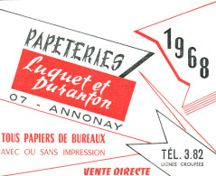 Calendrier Petit Format - 1968 - Papeteries LUQUET Et DURANTON à Annonnay - Calendriers