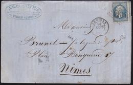 France - N°22 Sur LaC Obl. 1863 Le Vigan Pour Nimes - Postmark Collection (Covers)