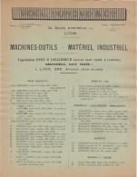 69 LYON Publicité Machines Outils Noêl DUMOND Anc. Ets SATRE & LYONNET ( Duby & LOZACHMEUR    - Y48 - France