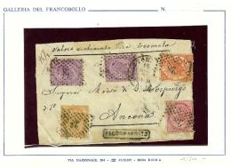 I. REGNO - RARA LETTERA - CERT E. DIENA - LEGGERE BENE IL CERTIFICATO - AFFRANCATURA QUADRICOLORE - 1861-78 Vittorio Emanuele II