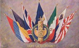 Militaria   69           Drapeau. Vers La Victoire (Oilette ) - Material
