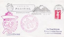 FREGATE PRAIRIAL   TLD    MERS ET OCEANS ZONE DE LA LIGNE   ARMEMENT POUR ESSAIS  FLAMME PARIS 22/02/92 - Marcophilie (Lettres)