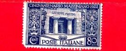Nuovo - ITALIA - REGNO - 1922 - 50 Anni Della Morte Di Giuseppe Mazzini - Tomba Di Mazzini, A Staglieno, Genova - 80 C. - 1900-44 Vittorio Emanuele III