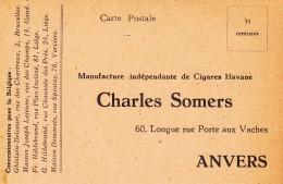 Reclame - Ch. SOMERS  ANVERS - TABAK  CIGARES HAVANE - Werbepostkarten