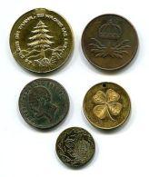 Table Medal E54 Sweden Oscar II Tree Leaf (5 Pcs; D 17- 28 Mm) - Jetons En Medailles