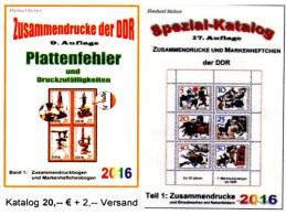 Alle Zusammendrucke+Abarten In Bogen-ZD RICHTER 2016 DDR Teil 1+4 Neu 45€ Se-tenants Error Special Catalogue GDR Germany - Unclassified