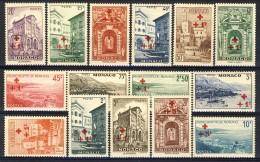 Monaco 1940 Serie N. 200-214 Pro Croce Rossa Croce E Plusvalore Sovrastampati In Rosso MLH Catalogo € 185 - Monaco