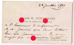 HARRE / SAINT - ANTOINE Curé Kerremans 1899 - Cartes De Visite