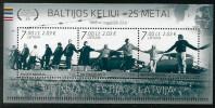 """Litauen, 2014, 1166/68 Block 50, Menschenkette """"Baltischer Weg"""". MNH ** - Lituanie"""