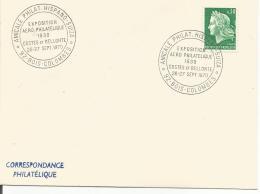 OBLITERATION COMMEMORATIVE EXPO PHILA COSTES ET BELLONTE à BOIS COLOMBES (HAUTS DE SEINE) 1970 - Commemorative Postmarks