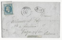 1868 - HAUTE SAONE - LETTRE De FAUCOGNEY Avec BOITE MOBILE + T15 De LUXEUIL Pour VRIGNE AUX BOIS (ARDENNES) - Storia Postale