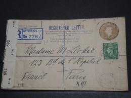 GRANDE BRETAGNE - Env Recommandée Avec Censure Pour La France - 1945 - A Voir - P17707 - Postmark Collection