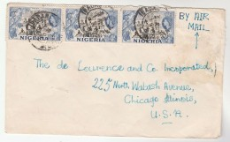 1957 Air Mail NIGERIA COVER Stamps 3x 1d COCOA Industry To USA - Nigeria (...-1960)