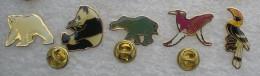 SERIE DE 5  PIN'S ANIMAUX OURS POLAIRE PANDA ELEPHANT BALEINE TOUCAN     YYY  042 - Dieren