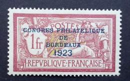 Frankrijk 1923, Opdruk Filatelistisch Congres In  Bordeaux - Zegel Ongebruikt - Yvert: 182 Michel: 152 - Frankrijk