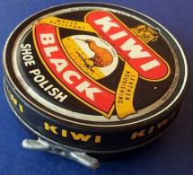M#0P80 SCATOLA LATTA Vintage LUCIDO SCARPE KIWI BLACK England - Scatole