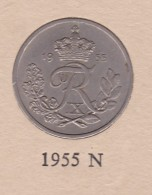 Denmark, 25 Øre, 1955 N ♥ S.  Copper-Nickel   KM 842.1 - Dinamarca