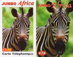 CARTES PREPAYEES ETHNIQUES AFRIQUE  JUMBO AFRICA  Zébres *7,50e (lot De 2)  5011 - France