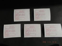 HALFDRUK RECHTS 5 X !! RR !!  Laag Punt. Roodpaars. Nieuwe Automaten. N/F C Papier. - Postage Labels