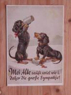 """Hund505 : Dackel-Paar Mit Bierkrüge """"Mei Alte Sauft Soviel Wie I, Daher Die Große Sympathie !"""" - Lengauer Karte Nr. 2112 - Hunde"""