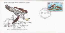 Mauritius 1978 FDC WWF W.W.F. Fauna Bird Birds Mauritius Kestrel Falco Punctatus Falcon - Mauritius (1968-...)