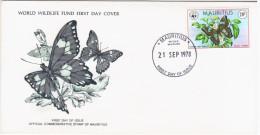 Mauritius 1978 FDC WWF W.W.F. Fauna Butterfly Butterflies - Maurice (1968-...)