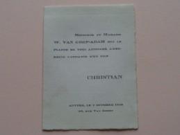 """"""" CHRISTIAN """" Anvers 7 Oct 1938, 30 Rue Van Geert VAN GORP - ADAM ( Blanco Binnenkant / Zie Foto´s Voor Detail ) ! - Birth & Baptism"""