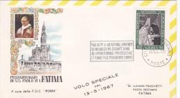 Vatican City 1967 Special Flight To Fatima ,souvenir Cover - Vatican