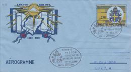 Vatican City 1981 Pope Visit Manila Souvenir Aerogramme - Used Stamps
