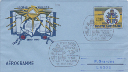 Vatican City 1982 Pope Visit Lagos Souvenir Aerogramme - Used Stamps