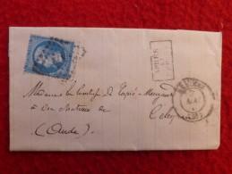 LETTRE TIMBRE NAPOLEON VARIETE CADRE FILET CACHET APRES LE DEPART - Postmark Collection (Covers)