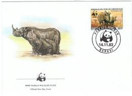 WWF-L8 - CENTRAFRICAINE 3 FDC WWF Thème Rhinocéros - Rhinozerosse